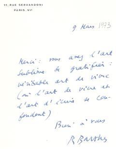 Lettre de Jean d'ORMESSON