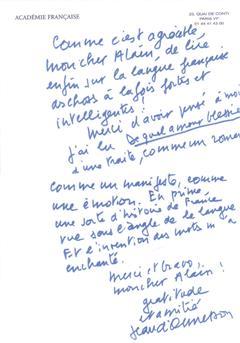 Lettre de Roland BARTHES